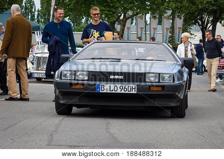 BERLIN GERMANY - MAY 17 2014: Sports Car DeLorean DMC-12. 27th Oldtimer Day Berlin - Brandenburg