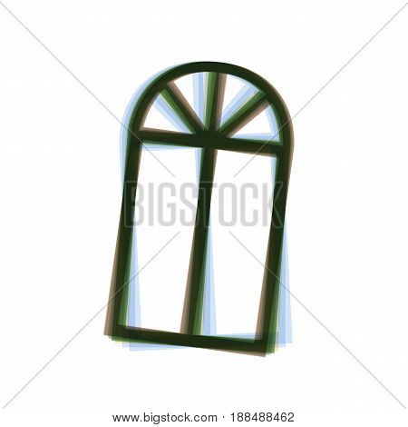 Window simple sign. Vector. Colorful icon shaked with vertical axis at white background. Isolated.
