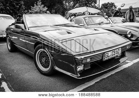 BERLIN GERMANY - MAY 17 2014: A two-seater convertible sports car TVR 350i. Black and white. 27th Oldtimer Day Berlin - Brandenburg