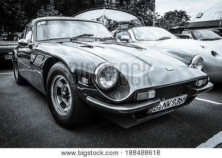 BERLIN GERMANY - MAY 17 2014: A two-seater convertible sports car TVR 3000M. Black and white. 27th Oldtimer Day Berlin - Brandenburg
