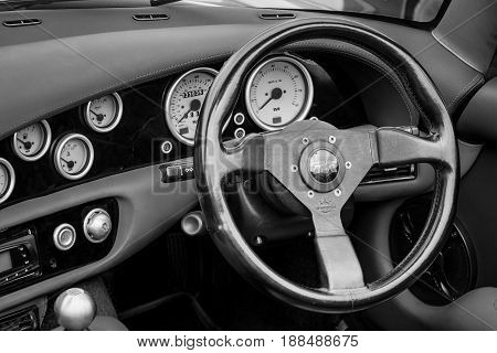 BERLIN GERMANY - MAY 17 2014: Cab of a two-seater convertible sports car TVR Chimaera 450. Black and white. 27th Oldtimer Day Berlin - Brandenburg