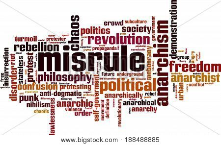 Misrule word cloud concept. Vector illustration on white