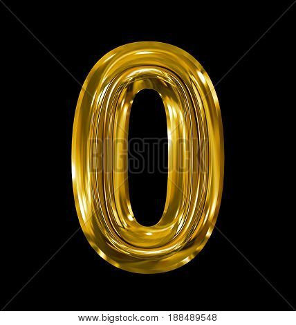 Number 0 Rounded Shiny Golden Isolated On Black