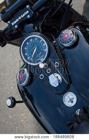 BERLIN GERMANY - MAY 17 2014: The dashboard and fuel tank of the motorcycle Harley-Davidson. 27th Oldtimer Day Berlin - Brandenburg