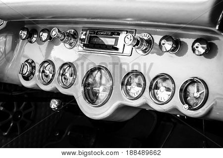 BERLIN GERMANY - MAY 17 2014: Dashboard of a sports car Chevrolet Corvette (C1). Black and white. 27th Oldtimer Day Berlin - Brandenburg