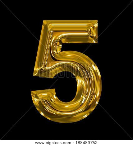 Number 5 Rounded Shiny Golden Isolated On Black