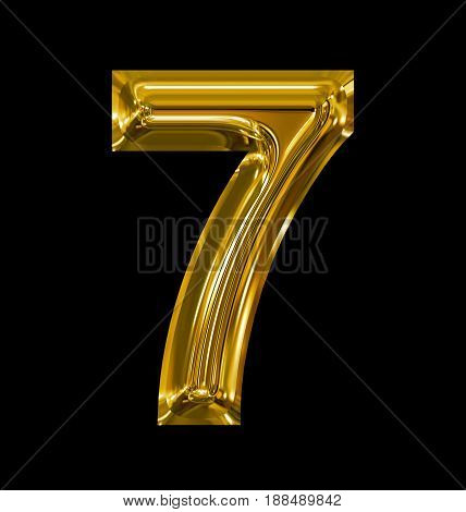 Number 7 Rounded Shiny Golden Isolated On Black