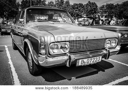 BERLIN GERMANY - MAY 17 2014: Large family car Ford 26M (P7b). Black and white. 27th Oldtimer Day Berlin - Brandenburg