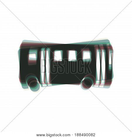 Bus simple sign. Vector. Colorful icon shaked with vertical axis at white background. Isolated.