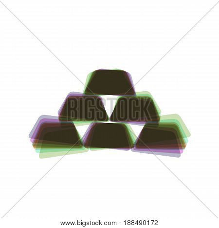Gold simple sign. Vector. Colorful icon shaked with vertical axis at white background. Isolated.