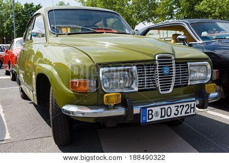 BERLIN GERMANY - MAY 17 2014: Compact car Saab 96. 27th Oldtimer Day Berlin - Brandenburg