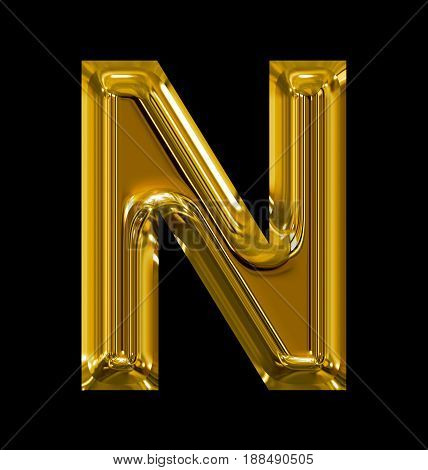 Letter N Rounded Shiny Golden Isolated On Black