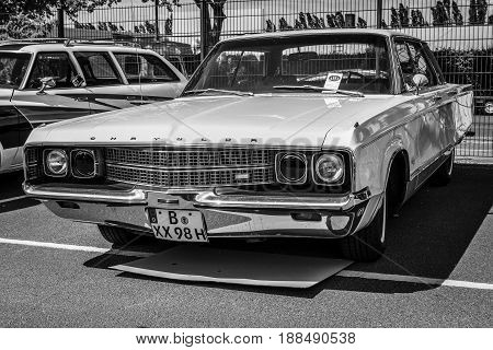 BERLIN GERMANY - MAY 17 2014: A luxury car Chrysler New Yorker (Seventh generation). Black and white. 27th Oldtimer Day Berlin - Brandenburg
