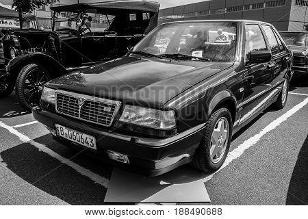 BERLIN GERMANY - MAY 17 2014: Executive car Lancia Thema 8.32 (engine Ferrari V8). Black and white. 27th Oldtimer Day Berlin - Brandenburg