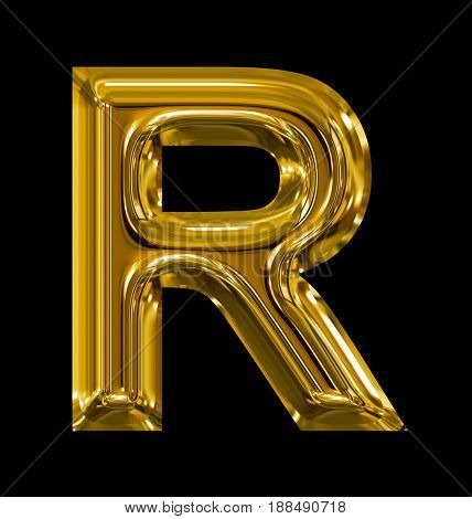Letter R Rounded Shiny Golden Isolated On Black