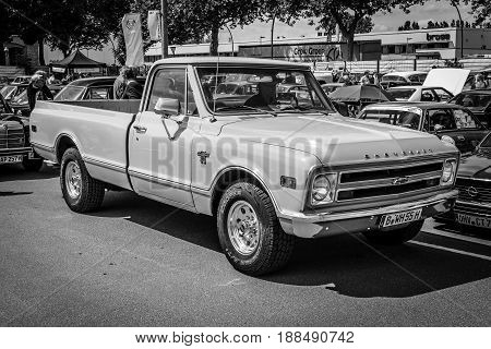BERLIN GERMANY - MAY 17 2014: Full-size pickup truck Chevrolet C20. Black and white. 27th Oldtimer Day Berlin - Brandenburg