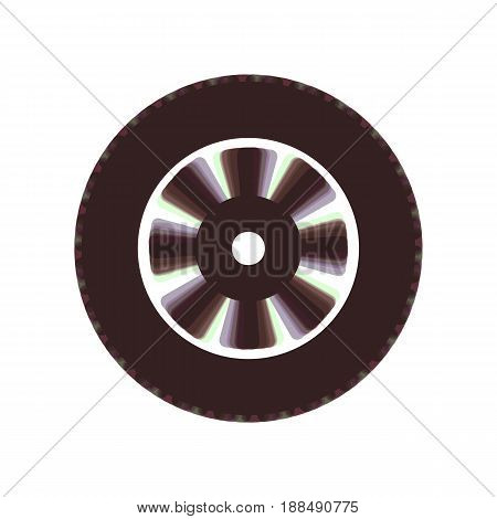 Road tire sign. Vector. Colorful icon shaked with vertical axis at white background. Isolated.