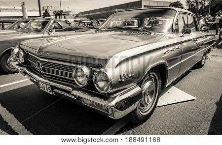 BERLIN GERMANY - MAY 17 2014: Full-size car Buick LeSabre 4-Door Sedan (1962). Black and white. 27th Oldtimer Day Berlin - Brandenburg