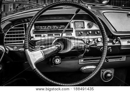 BERLIN GERMANY - MAY 17 2014: Cab of the mid-size luxury car Citroen DS21. Black and white. 27th Oldtimer Day Berlin - Brandenburg