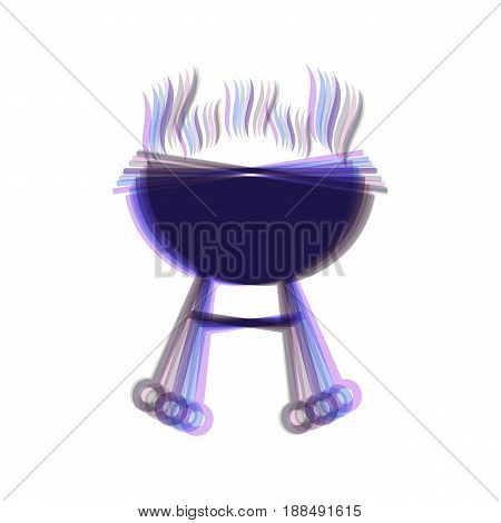 Barbecue simple sign. Vector. Colorful icon shaked with vertical axis at white background. Isolated.