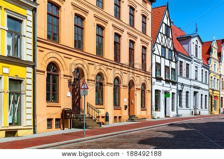 Scenic summer view of the Old Town architecture in Wismar, Mecklenburg region, Germany