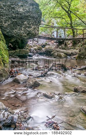 The beautiful waterfall in forest spring long exposure