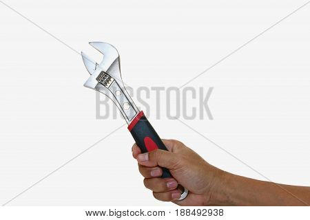 Man hand hold Wrench scroll jaws isolated on white background