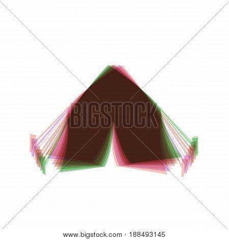 Tourist tent sign. Vector. Colorful icon shaked with vertical axis at white background. Isolated.