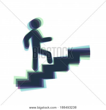 Man on Stairs going up. Vector. Colorful icon shaked with vertical axis at white background. Isolated.