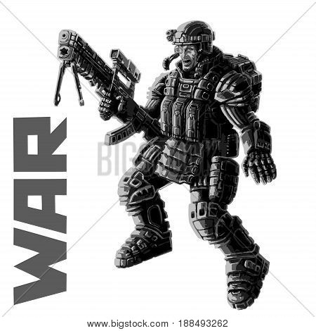 Heavy infantry in armor suit with a large plasma rifle. Vector illustration. Science fiction original character the soldier of the future.