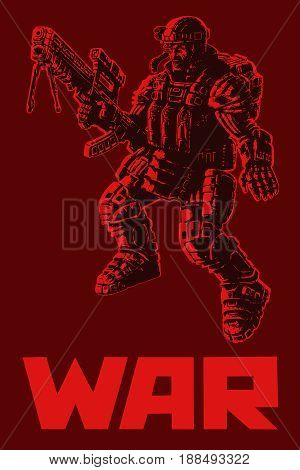 Heavy infantry in armor suit. Vector illustration. Science fiction original character.