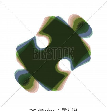 Puzzle piece sign. Vector. Colorful icon shaked with vertical axis at white background. Isolated.