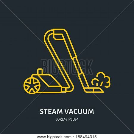 Steam vacuum cleaner flat line icon, logo. Vector illustration of household appliance for housework equipment shop or cleaning service.