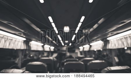 Blurred of bus in drak night non person for background