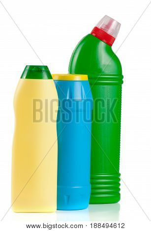 three bottles of cleansers isolated on white background.