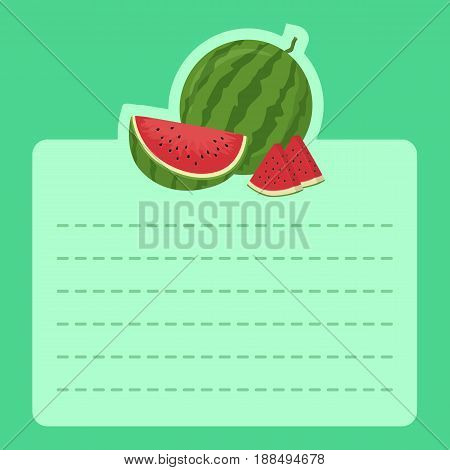 Watermelon Memo Notes Green. Vector illustration of watermelon slice icon on green background and empty notes space for writing message.