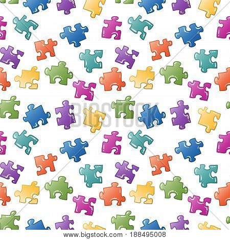Seamless cartoon puzzle vector background or pattern