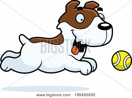 Cartoon Jack Russell Terrier Chasing Ball