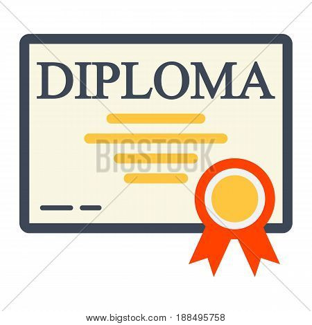 Diploma flat icon, Education and certificate, graduation vector graphics, a colorful solid pattern on a white background, eps 10.