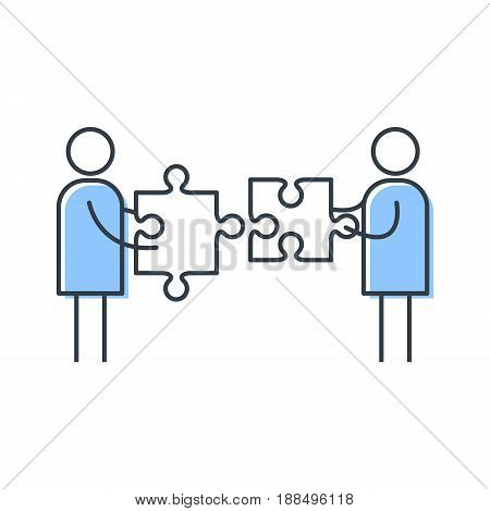 Two man putting puzzle pieces together. Simple vector illustration
