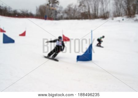 Blurred View Of Snowboarding Giant Parallel Slalom Competitions