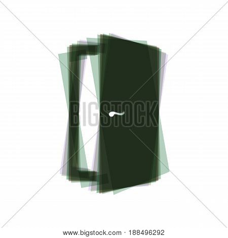 Door sign illustration. Vector. Colorful icon shaked with vertical axis at white background. Isolated.