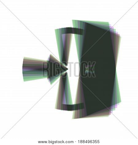 Door Exit sign. Vector. Colorful icon shaked with vertical axis at white background. Isolated.