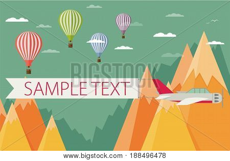 Background of hot air balloons plain with banner mountains and clouds.