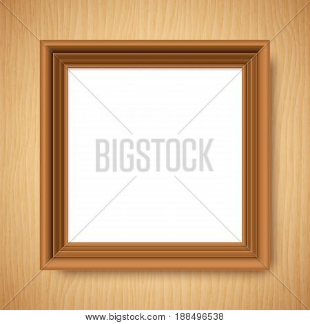 Blank white poster in brown wooden frame