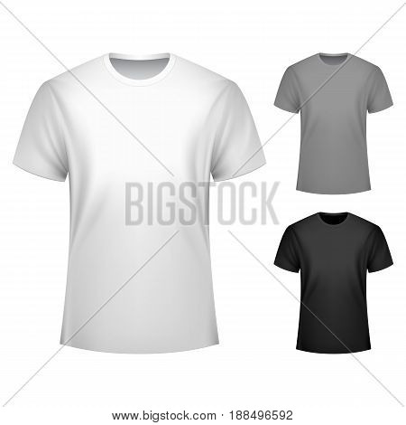 Men t-shirts collection, front view, white, grey and black colors. Mock up or template for custom print design