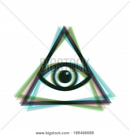 All seeing eye pyramid symbol. Vector. Colorful icon shaked with vertical axis at white background. Isolated.