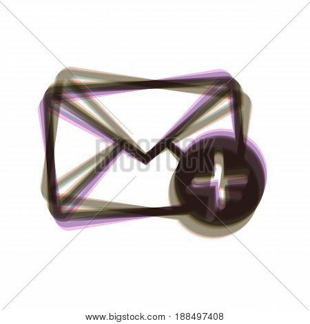 Mail sign illustration with add mark. Vector. Colorful icon shaked with vertical axis at white background. Isolated.