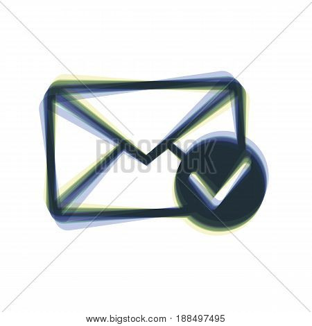 Mail sign illustration with allow mark. Vector. Colorful icon shaked with vertical axis at white background. Isolated.