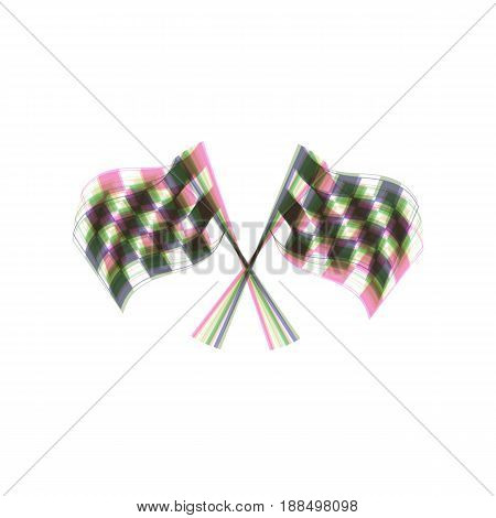 Crossed checkered flags logo waving in the wind conceptual of motor sport. Vector. Colorful icon shaked with vertical axis at white background. Isolated.